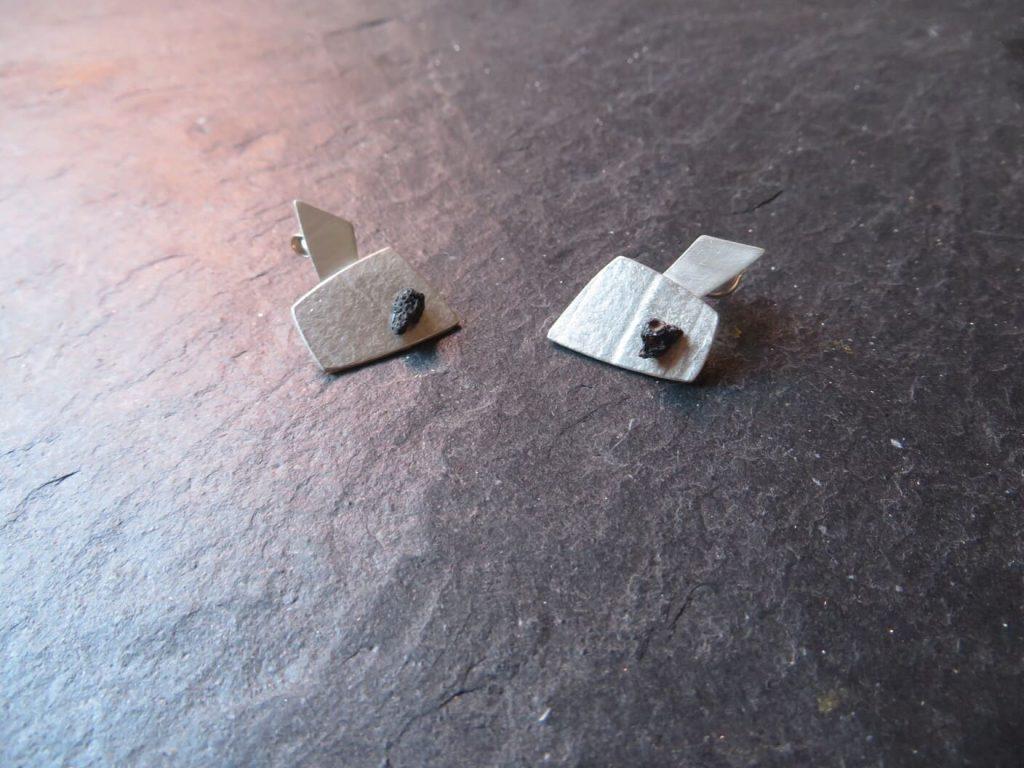 joia d'autor | arracades de plata i pedra negra | conjunt NÚRIA