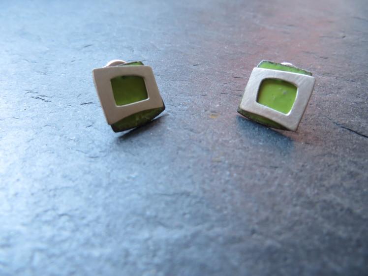 joia d'autor | arracades de plata i coure esmaltat verd | conjunt SARA